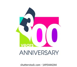 300 years anniversary colored logo isolated on a white background for the celebration of the company. Vector Illustration Design Template
