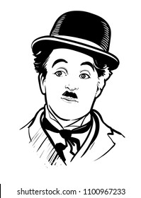 30.05.2018. Hand-drawn vector portrait of legendary comic Charlie Chaplin. .eps10, editorial use only
