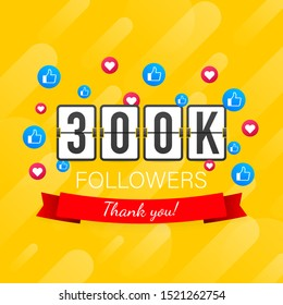 300k followers card banner template for celebrating many followers in online social media networks.