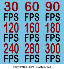 30-300 fps icons, on the blue background