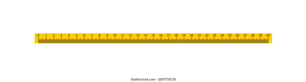 30cm Measure Tape ruler school metric measurement. Metric ruler. 30 centimeters metric vector ruler with yellow and black color.