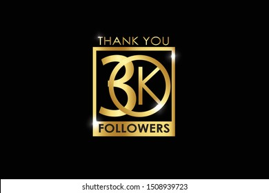 30k, 30.000 Followers celebration logotype. anniversary logo with golden Square and Spark light white color isolated on black background for social media - Vector
