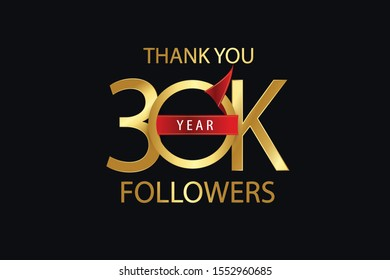 30k, 30.000 Followers celebration logotype. anniversary logo with golden and Spark light white color isolated on back background for social media - Vector