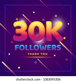 30k or 30000 followers thank you colorful background and glitters. Illustration for Social Network friends, followers, Web user Thank you celebrate of subscribers or followers and likes