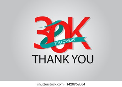 30K, 30.000 Thank You Followers anniversary Red logo with Tosca ribbon. For Social Medias - Vector