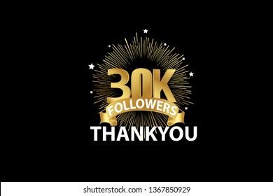 30K  Followers anniversary, minimalist logo years, jubilee, greeting card. invitation. Sign Ribbon Gold space vector illustration on black background - Vector
