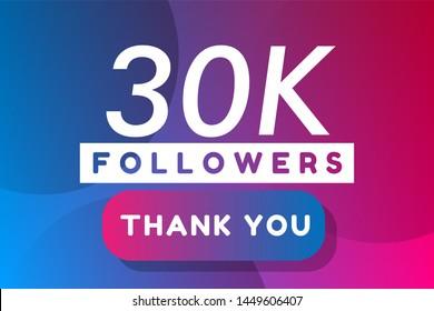 30K followers. colorful minimal gradient purple blue vector illustration banner