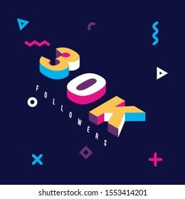 30k followers design. Vector illustration