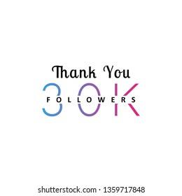 30K followers greeting. Emblem for social media.
