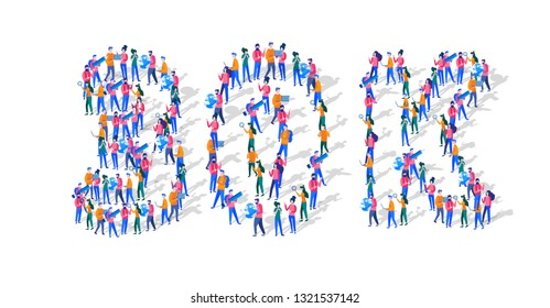 30K Followers Isometric Vector Concept, Group of business people are gathered together in the shape of 30000 word, for web page, banner, presentation, social media, Crowd of little people. teamwork