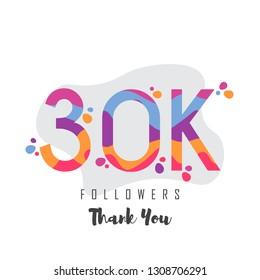 30k followers thank you design. Vector illustratoration