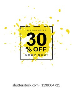 30%OFF. Discount Illustration. Hand Drawn Paint Splash Vector Illustration. Abstract Yellow Splash. White Background. Black Text in Black Frame.