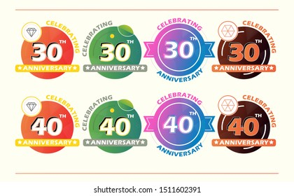 30th and 40th years anniversary logo set, vector  birthday celebration with many colorfull circle and ribbon design. For invitation card, flyer, brosur, and banner