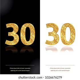 30th anniversary card on black and white backgrounds. Vector illustration.