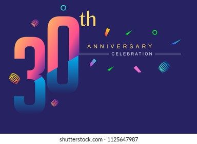 30th anniversary celebration with colorful design, modern style with ribbon and colorful confetti isolated on dark background, for birthday celebration