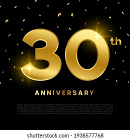 30th anniversary celebration with gold glitter color and black background. Vector design for celebrations, invitation cards and greeting cards.
