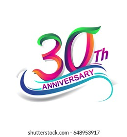 30th anniversary celebration logotype green and red colored. thirty years birthday logo on white background.