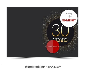 30th anniversary decorated greeting card template.