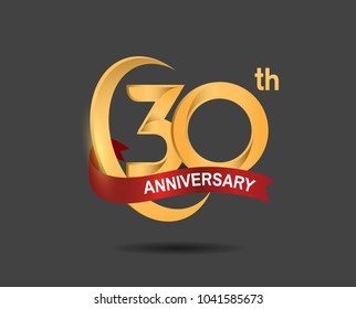 30th anniversary design logotype golden color with ring and red ribbon for celebration