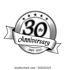30th anniversary design template. Vector and illustration.