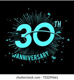 30th anniversary logo with firework background. glow in the dark design concept