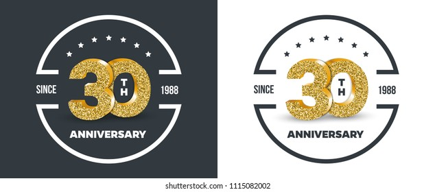 30th Anniversary logo on dark and white background. 30-year anniversary banners. Vector illustration.