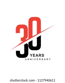 30th anniversary logo red and black swoosh design isolated on white background for anniversary celebration.