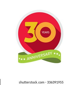 30th anniversary logo template with shadow number 3 (three). 30 years icon. Thirty years birthday party symbol. Thirtieth anniversary, sticker, ribbon, banner, poster, logotype, emblem, tag