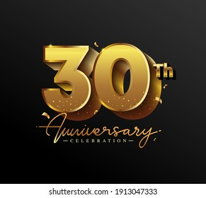 30th Anniversary Logotype with Gold Confetti Isolated on Black Background, Vector Design for Greeting Card and Invitation Card