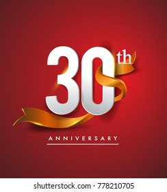 30th anniversary logotype with golden ribbon isolated on red elegance background, vector design for birthday celebration, greeting card and invitation card.