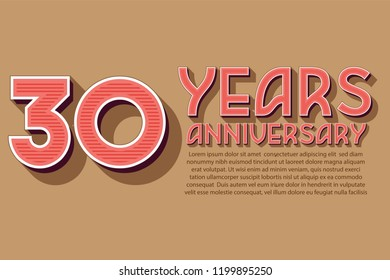 30th Anniversary numbers. background for anniversary