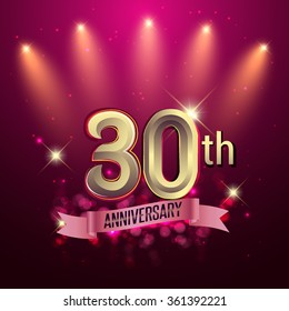 30th Anniversary, Party poster, banner or invitation - background glowing element. Vector Illustration.