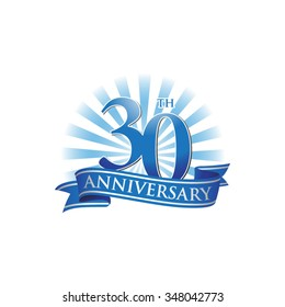 30th anniversary ribbon logo with blue rays of light
