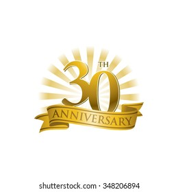 30th anniversary ribbon logo with golden rays of light