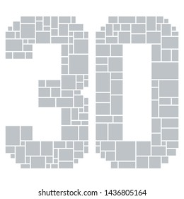 30th Birthday / Anniversary Numbers Vector Mood Board & Branding Presentation. Creative Theme Number Concept Mood Board, Anniversary Celebration, Birthday Celebration. Picture Display & Montage.