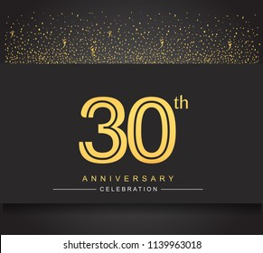 30th golden anniversary celebration logotype with confetti golden color isolated on black background, vector design for greeting card and invitation card