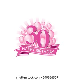 30th pink happy birthday logo with balloons and burst of light