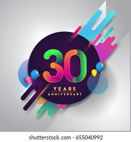 30th years Anniversary logo with colorful abstract background, vector design template elements for invitation card and poster your thirty birthday celebration.