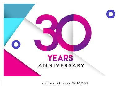 30th years anniversary logo, vector design birthday celebration with colorful geometric isolated on white background.