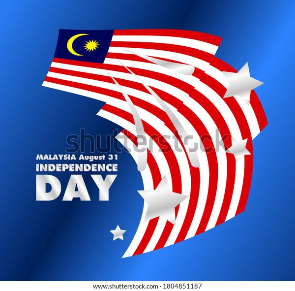 31 agustus, malaysia Independence day, banner template vector with star moon  blue red and white color illustration