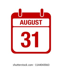 31 August calendar red icon. thirty one