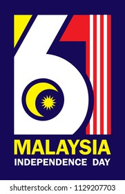 31 August - Malaysia Independence Day template design. Number 61 abstract art base on Malaysia flag colours.