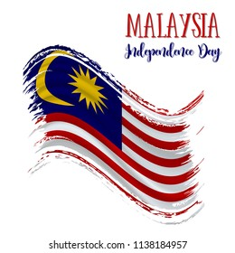 31 August, Malaysia Independence Day background in national flag color theme. Gabon National Day. Celebration banner with waving flag. Vector illustration