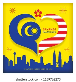 31 August - Malaysia Independence Day illustration with number 61 and city skyline base on Malaysia flag colours. The symbol of love represent peole and 61 years.