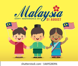 31 August - Malaysia Independence Day illustration. Cute cartoon kids of Malay, Indian & Chinese holding hands together with Malaysia flag in flat vector design.