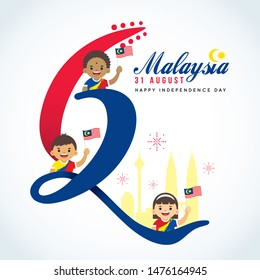 31 August - Malaysia Independence Day greeting card. Cartoon Malaysia citizen holding flag with number 62 and city skyline in flat vector illustration.