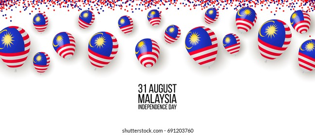 31 August. Malaysia Independence Day background in national flag color theme. Celebration banner with waving flags and fireworks, balloons. Vector illustration Template for banner, poster, card, flyer