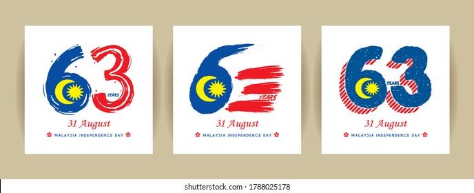 31 August - set of Malaysia Independence Day template design. Number 63 abstract art base on Malaysia flag colours.