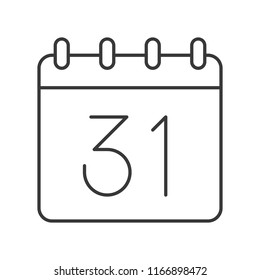 31 calender, Halloween related hollow outline icon, editable stroke