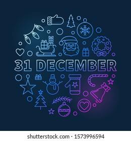 31 December vector concept outline colored illustration on dark background